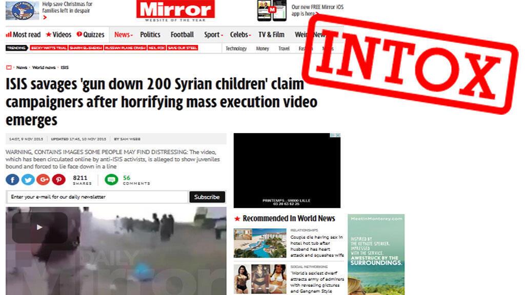 """Le site du """"Daily Mirror"""" a publié une vidéo qui montrerait une exécution de """"200 enfants syriens"""", citant un activiste yéménite. Mais cette information est erronée."""