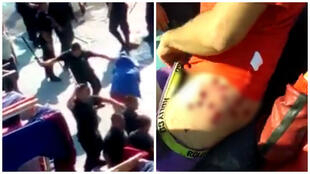 Screen grabs from two videos filmed in the Colina II prison in Chile. Left: guards beat the prisoners. Right: a prisoner shows his injuries.