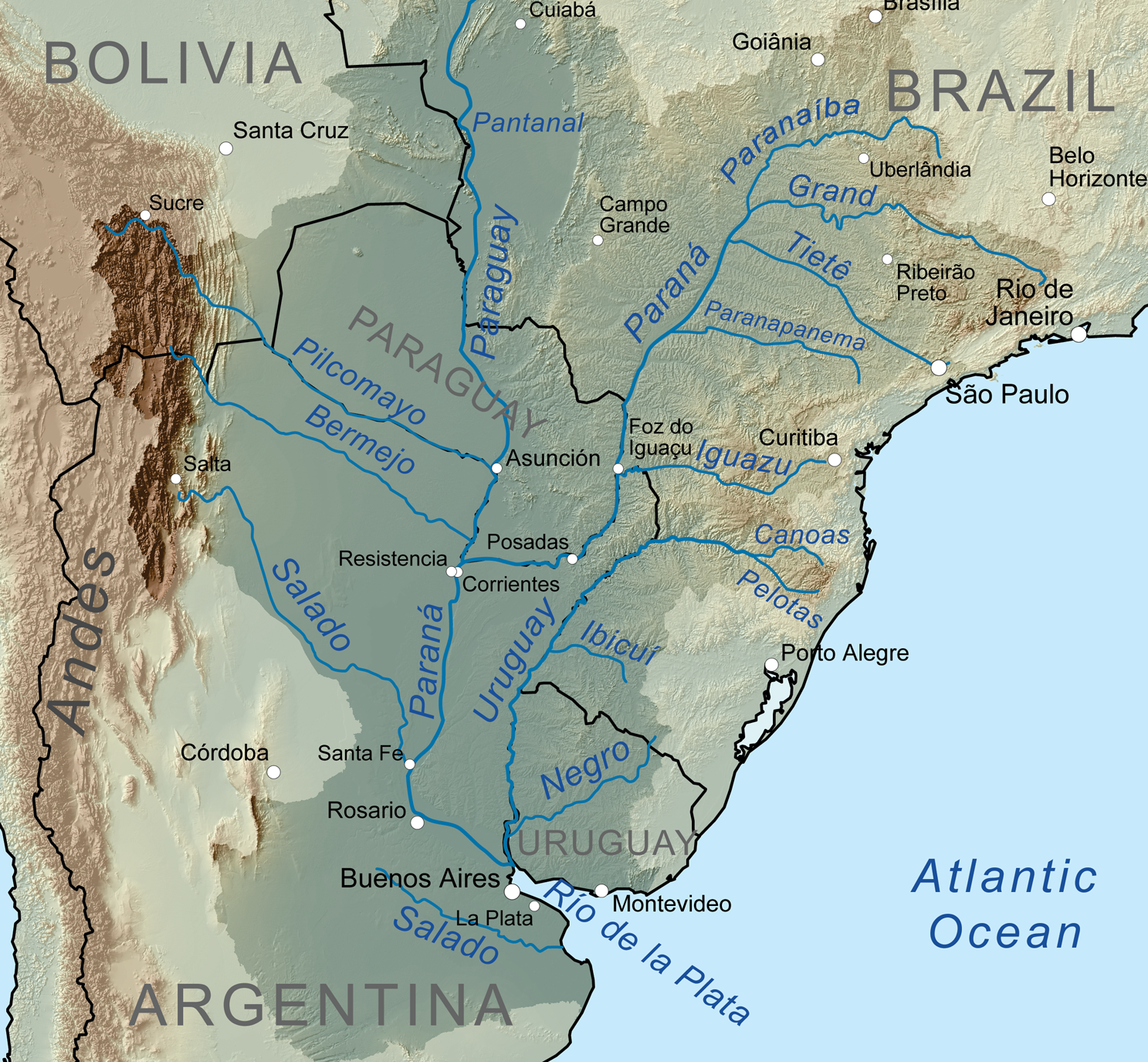 The Paraná River and its tributaries.