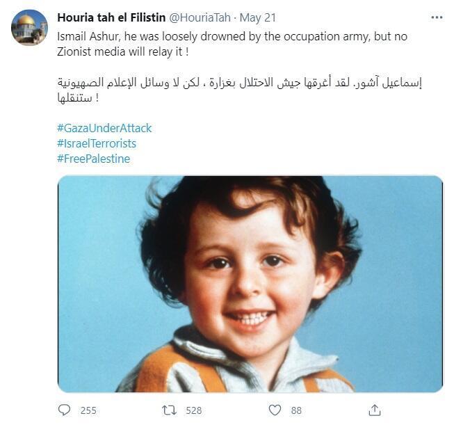 """Tweet initial affirmant que l'enfant Ismail Ashur """"a été noyé par l'armée d'occupation"""" et """"qu'aucun média sioniste n'en parlera"""". Compte depuis supprimé."""