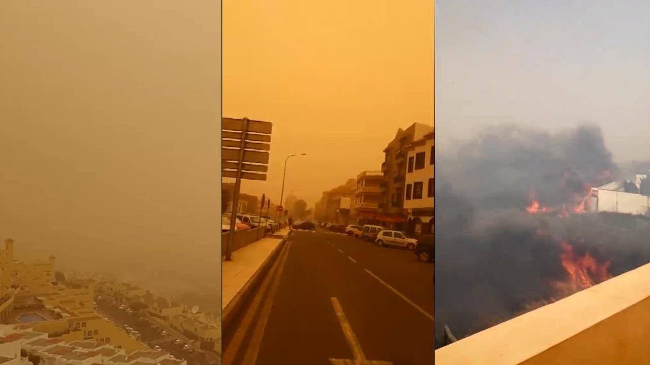 Ciel jaune, impossible de voir à quelques centaines et mètres et incendies... une tempête de sable a touché les îles Canaries.