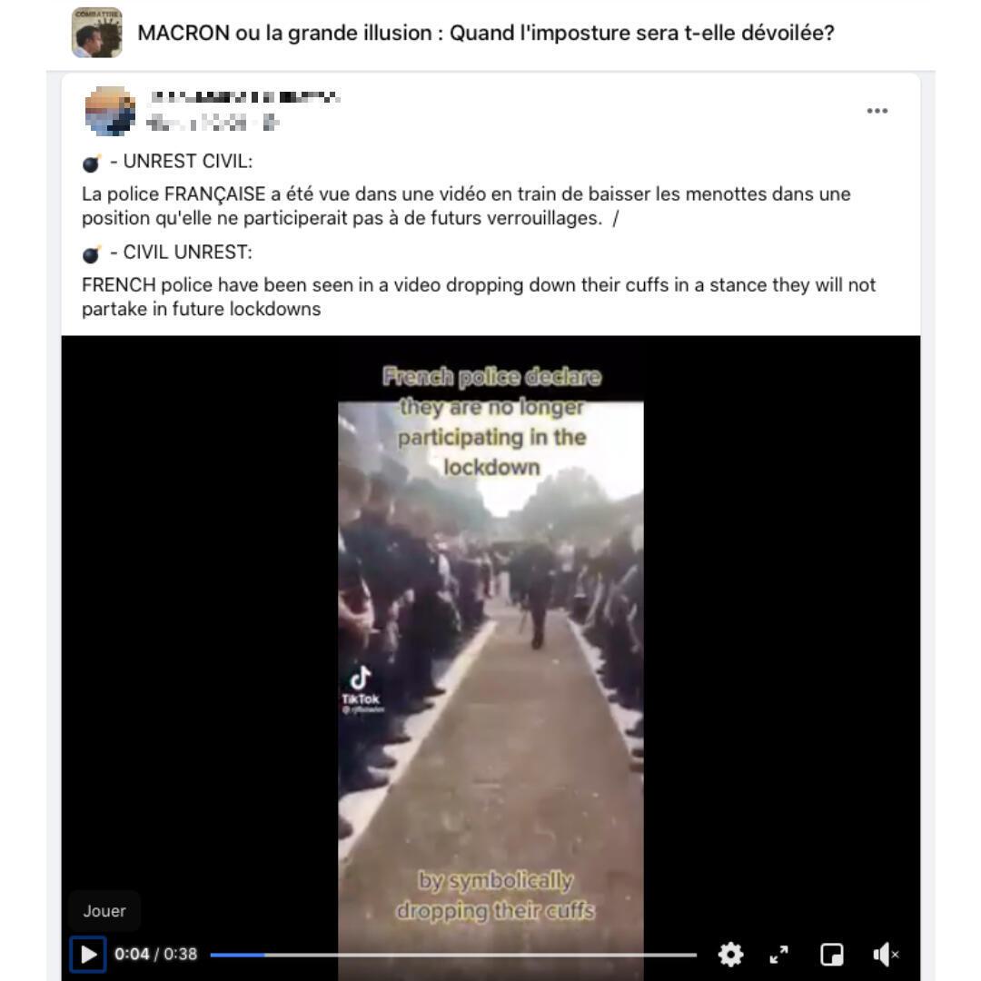 """La vidéo a été relayée sur le groupe Facebook français intitulé """"Macron ou la grande illusion""""."""