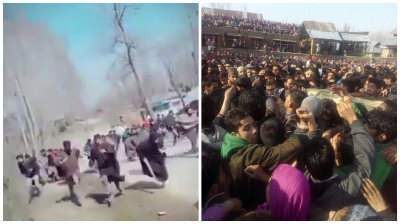 On the left, a screengrab from a video showing civilians fleeing gunfire. On the right, a funeral procession for killed militants.