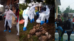 The image on the left shows sanitation and health workers getting ready to help people ill with Covid-19. The image in the centre shows teams transporting a body during a burial on January 10. The image on the right shows young volunteers handing out hydro-alcoholic solution for people to use as hand sanitiser in Mohéli.