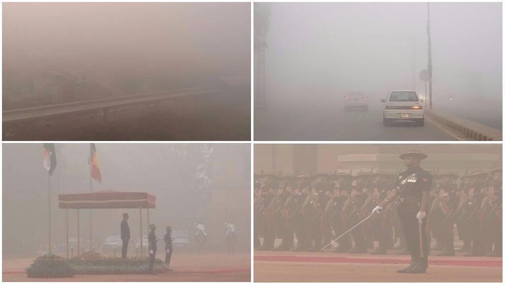Brouillard, brouillard et brouillard, c'est ce qu'on voyait aujourd'hui à New Delhi, capitale de l'Inde.
