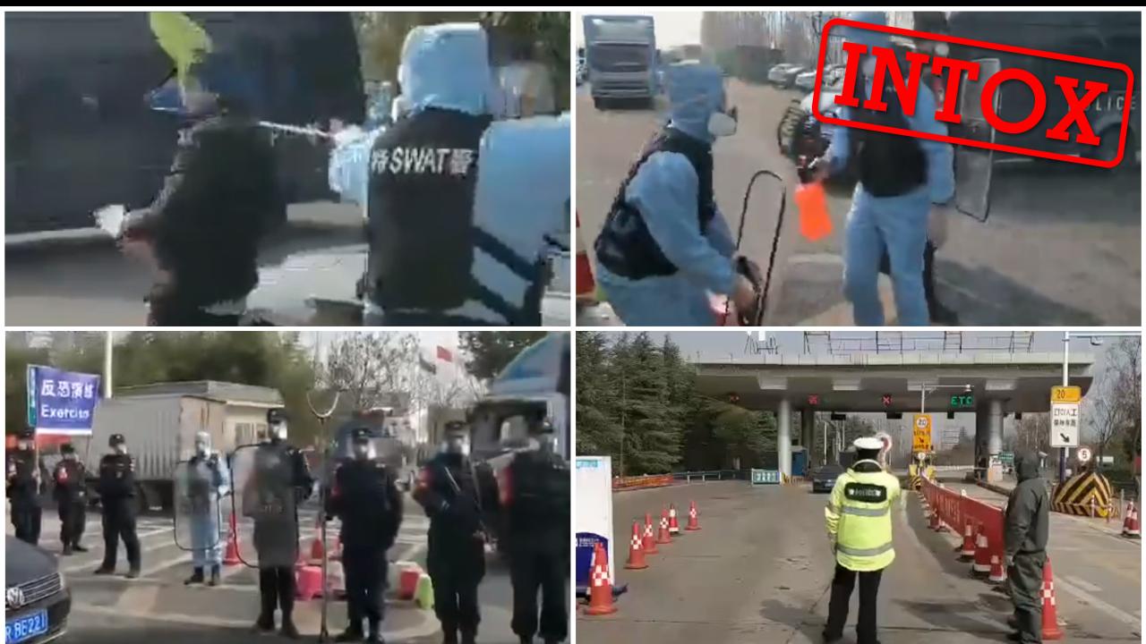 Des policiers chinois arrêtent un homme dont la température est anormale avec un filet de pêche. En réalité, il s'agit d'un exercice.