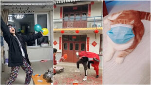From performing the traditional lion dance in their living rooms to imitating fireworks, Chinese people are finding inventive ways to beat the boredom of quarantine.