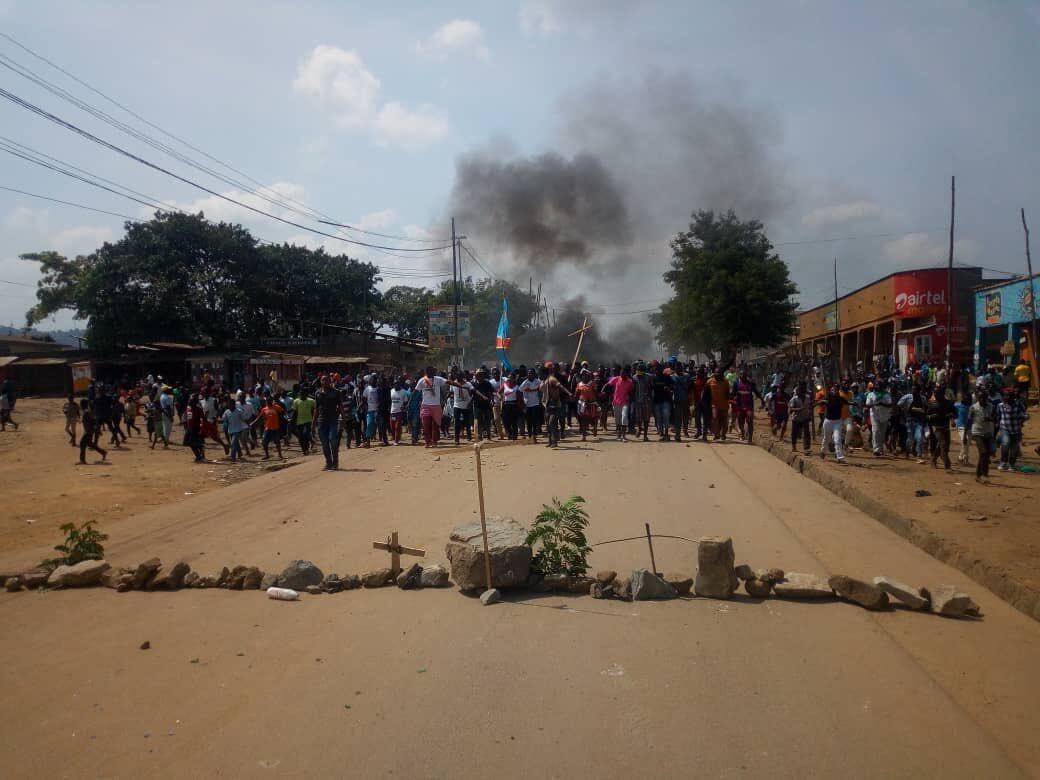 Des manifestants à Beni, le 27 décembre 2018, contre le report de l'élection dans la ville. Photo Lucha.