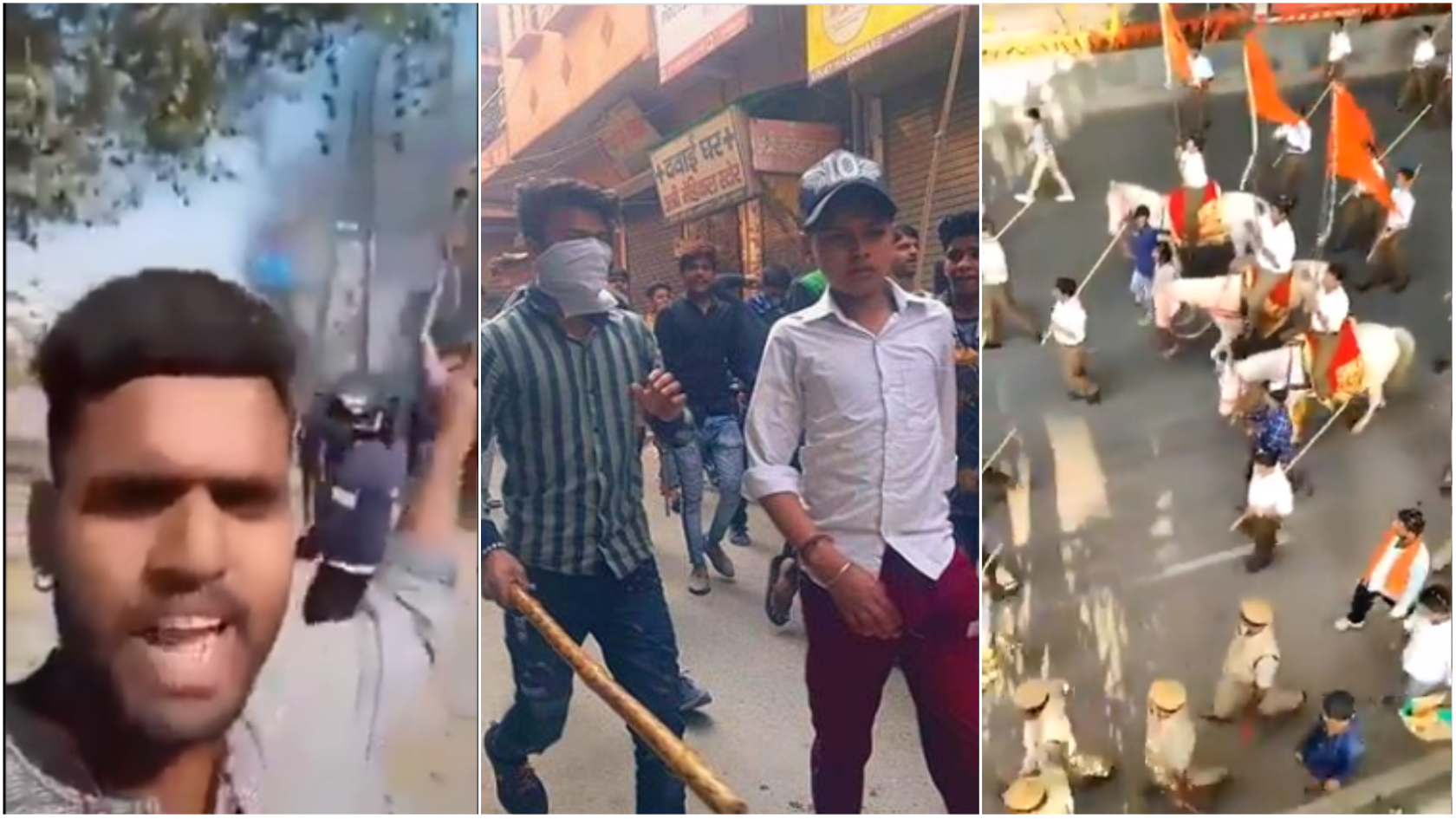 Screengrabs from amateur videos showing Hindu participants in riots in Delhi that started on February 23, 2020.