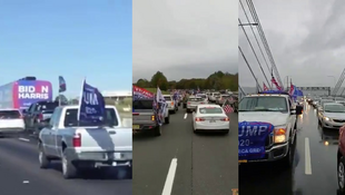 Caravans of Trump supporters in their vehicles were spotted in Texas (left), New Jersey (center), and New York (right) the weekend before the US presidential election.