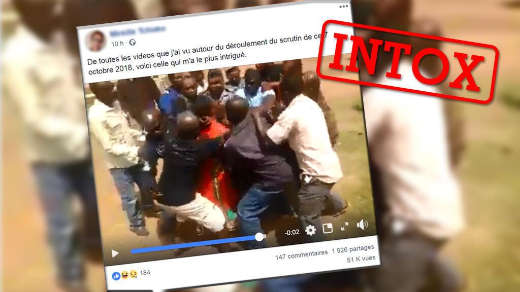 Capture d'écran d'une vidéo fortement relayée et partagée prétend témoigner d'accrochages lors de l'élection présidentielle camerounaise.