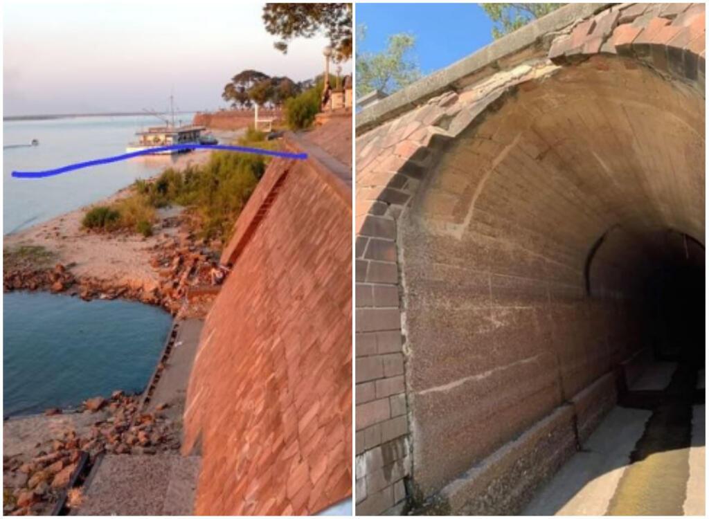 """A medida que baja el nivel del agua, """"Subterraneo"""" Fue descubierto en Corrientes, localidad a orillas del río Paraná, frente a Resistencia.  A la izquierda, la línea azul muestra de dónde venía el agua antes, cubriendo la entrada al túnel."""