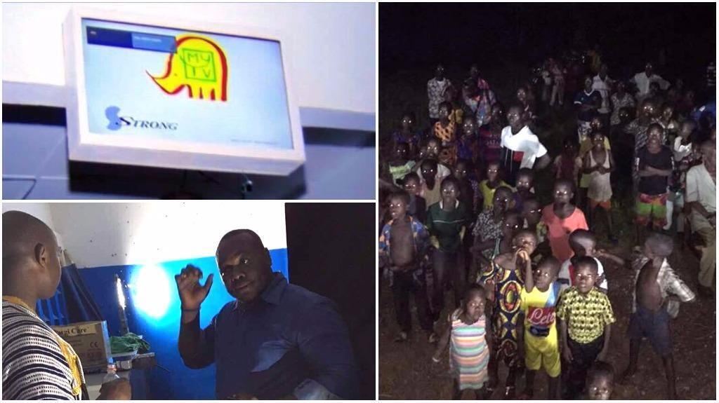 Ange Frédérick Balma, the founder of the Ivorian company Lifi-Led Côte d'Ivoire, installed a device in the village of Drongouiné that uses light to give residents access to television and internet.