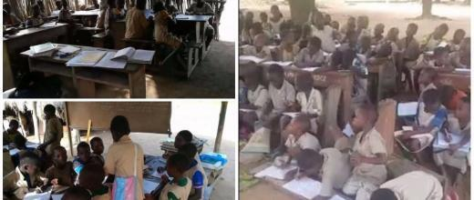 Classes held outside in rural Benin.