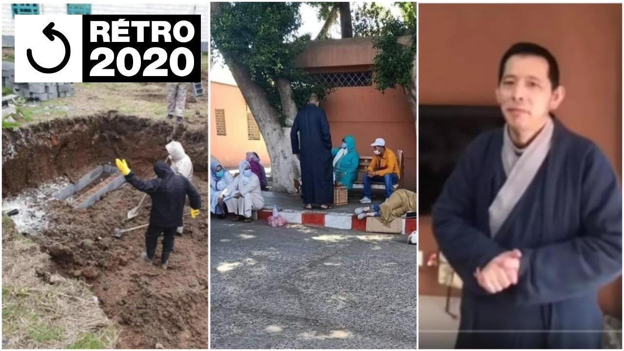 De gauche à droite, une fosse commune en Iran, des malades du Covid-19 au Maroc, et Fangbin, lanceur d'alerte à Wuhan, en Chine.