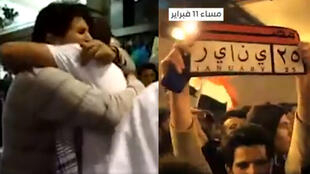 """À gauche, deux manifestants du corps soignant s'enlacent après l'annonce de la démission de Hosni Moubarak ; à droite, une plaque d'immatriculation affichant """"Égypte - 25 janvier""""."""