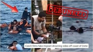 Online, many people claimed that the media had doctored or misused these images in order to stir up sympathy for migrants. (The image on the left is a photo while the other images are screengrabs from a video).