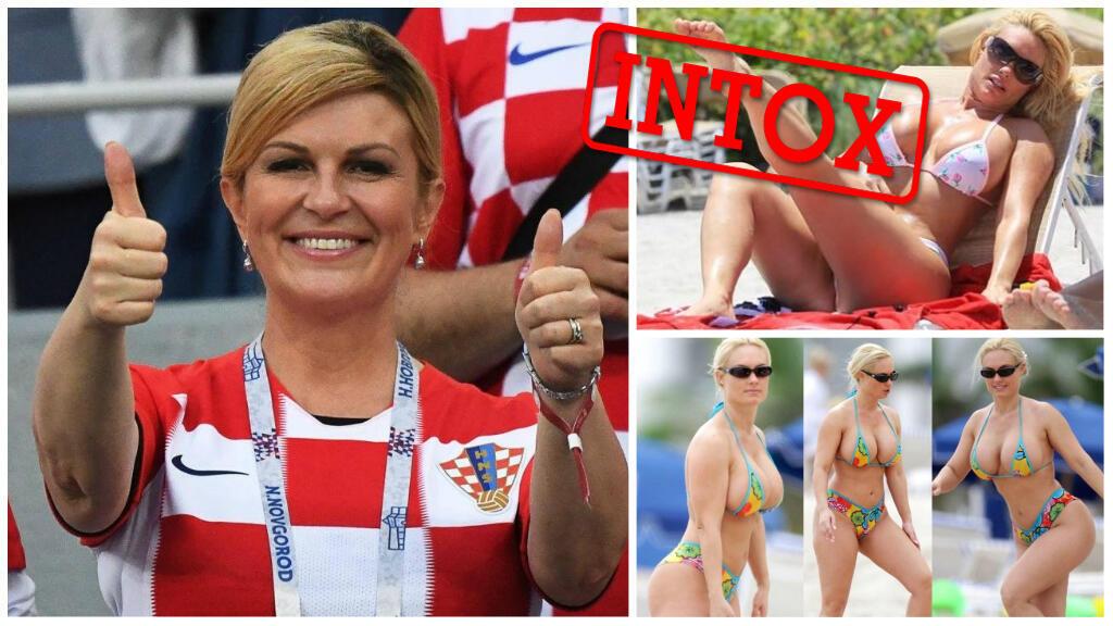 La présidente croate Kolinda Grabar-Kitarović à la coupe du monde de football, mercredi 11 juillet, et des photos d'une femme en bikini qui circulent prétendant qu'il s'agit de la même personne.