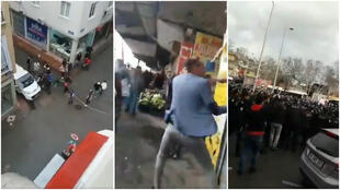 Screengrabs of videos showing incidents that occurred in the Turkish cities of Samsun and Kahramanmaras.