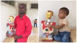 Jean-Max Dumont, son fils, et leur robot, 100% fabriqués à partir d'objects recyclés à Port-au-Prince.