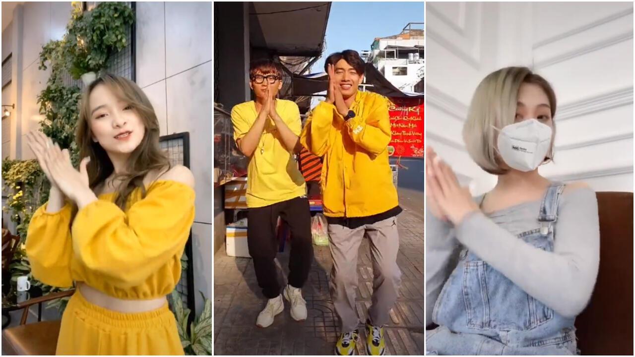 Plusieurs internautes ont repris les gestes du clip dans une courte chorégraphie devenue virale sur TikTok. Captures d'écran : @quynh2001, @im.quangdang, @haotho512.