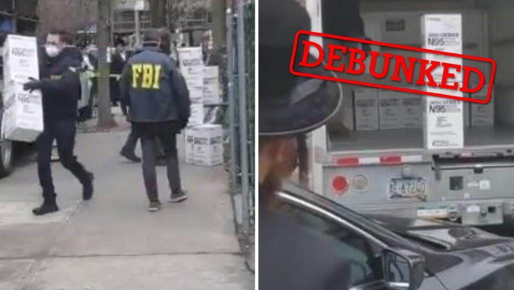 The FBI did actually seize medical supplies -- not from a synagogue -- but from a New York man who was selling them at inflated prices (screengrab from Facebook).