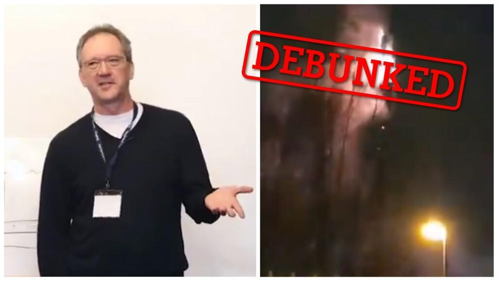 On the left, Dr Thomas Cowan, who is currently on probation, in a screengrab of his lecture which drew a link between 5G and coronavirus. On the right, a burning mobile phone mast in the UK.