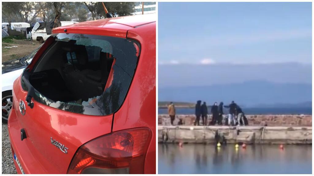 Une voiture d'un convoi d'humanitaires attaquée et un photojournaliste agressé à Lesbos. Photos : Ameer Sharifzadeh/ capture d'écran Tiwtter