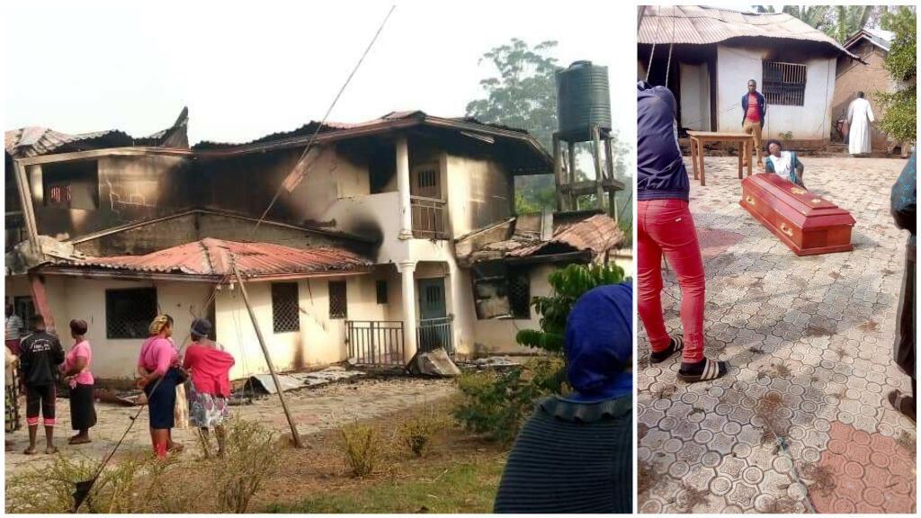La maison d'une femme, accusée d'abriter un séparatiste ambazonien, et le cercueil de cette femme, tuée et brûlée. Crédit : DR