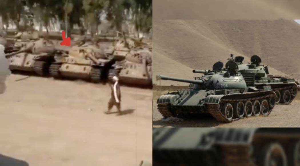 Chars de la vidéo de Kandahar à gauche et chars T-54/55 russes de l'armée afghane à droite.
