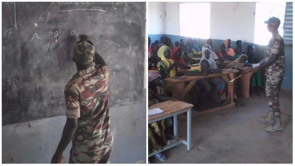 La photo de ce soldat donnant des cours à des élèves émeut les réseaux sociaux... qui se disputent l'origine de la photo entre le Cameroun et le Mali... et la réponse est... photos Didier Bajeck.