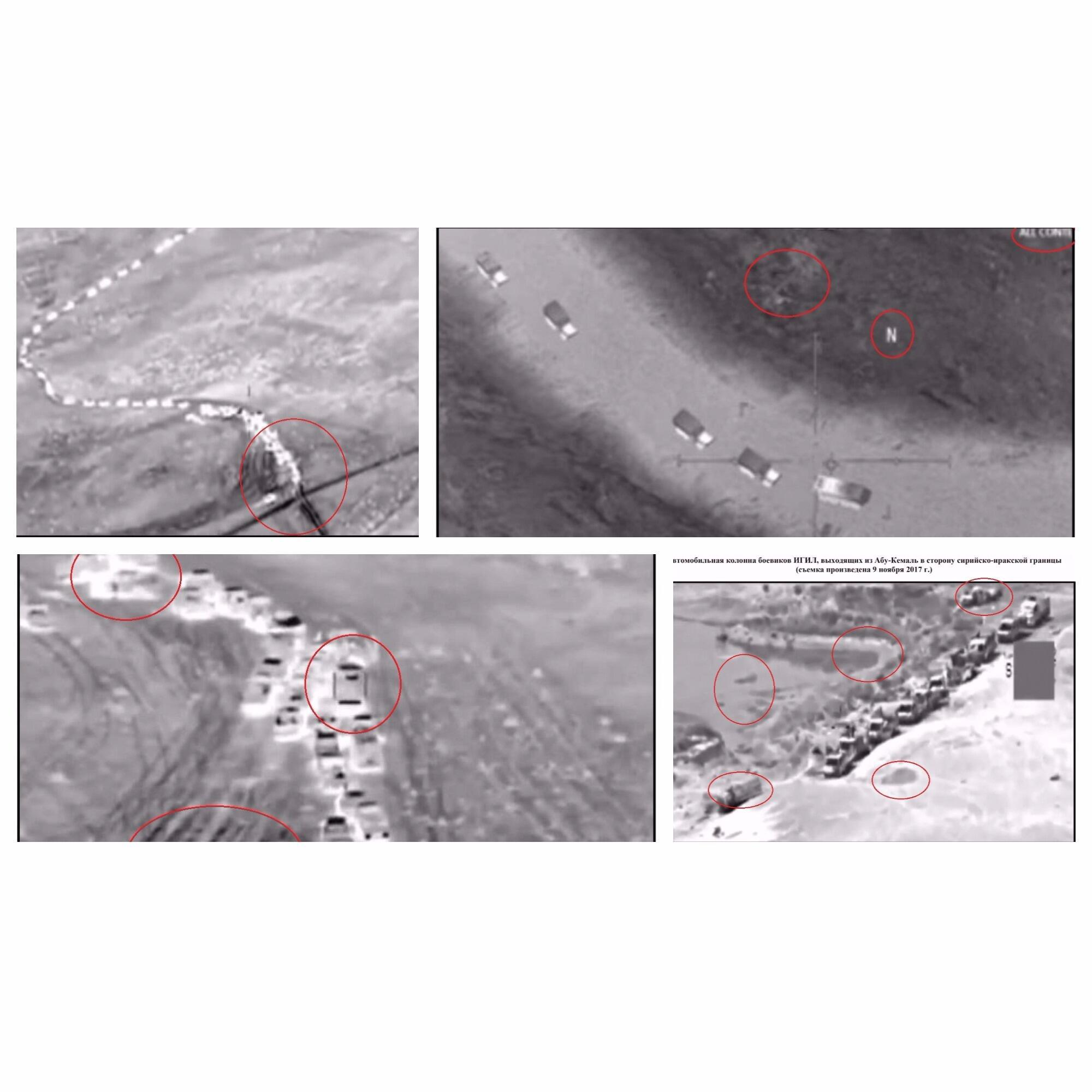 """The Russian Defence Ministry published four photos of a """"column of ISIS vehicles"""" retreating toward a region under the control of US-backed forces in Syria."""