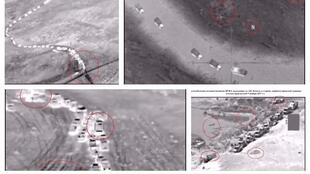 "The Russian Defence Ministry published four photos of a ""column of ISIS vehicles"" retreating toward a region under the control of US-backed forces in Syria."