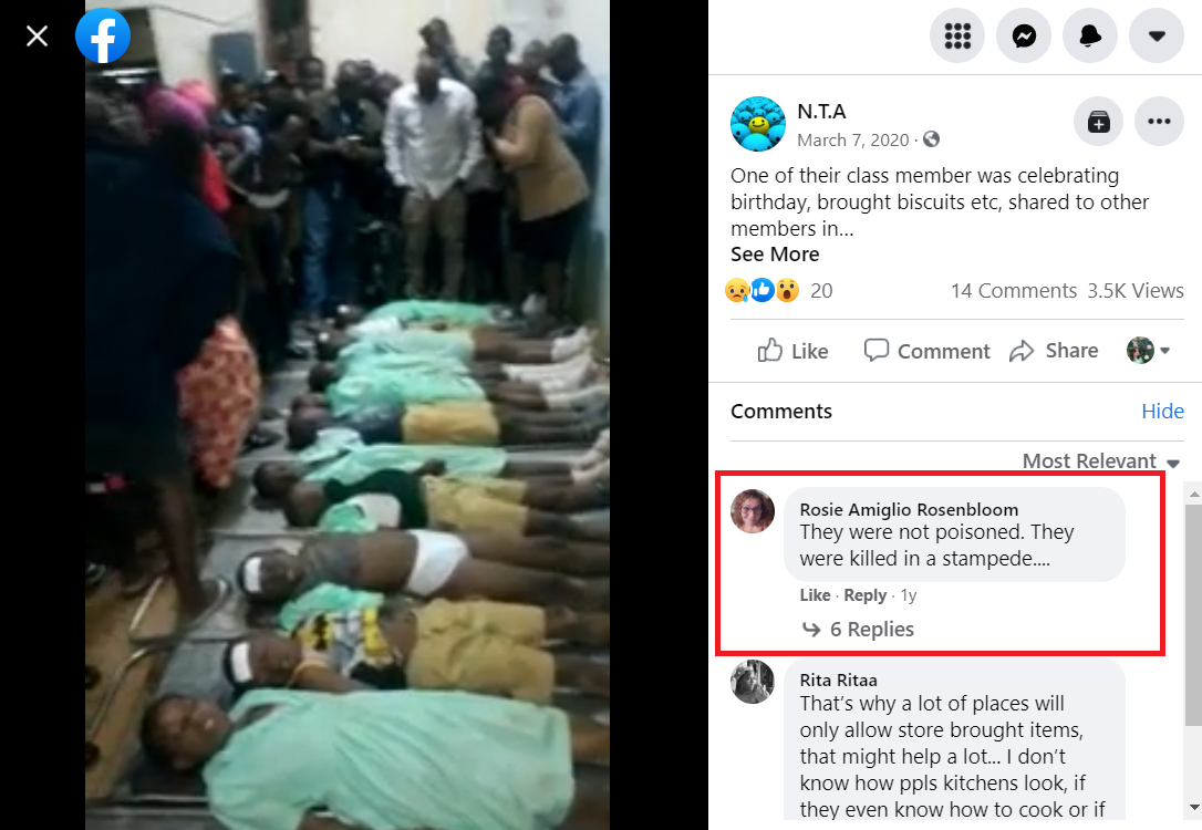 In a version of the video posted on Facebook March 7, 2020, a commenter replies that the children were not killed by poisoning.