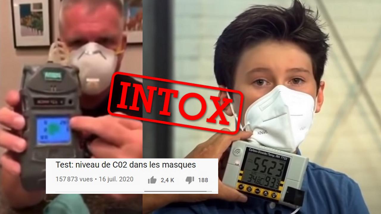 Ces deux vidéos tentent de prouver que le niveau de Co2 dans les masques est dangereux pour la santé. Mais ce raisonnement est erroné.