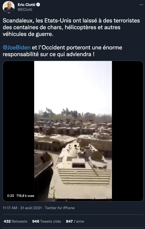 Capture d'écran du tweet d'Éric Ciotti posté le 31 août.
