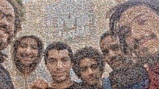 """This image is a montage of selfies posted online as part of the campaign to liberate the actors who make up the """"Atfal Al Shawarae"""" comedy troupe."""