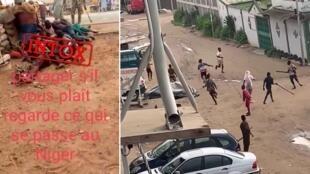 À gauche, capture d'écran de la vidéo détournée de son contexte ; à droite, une vidéo montrant les émeutes que sa diffusion a engendrées.