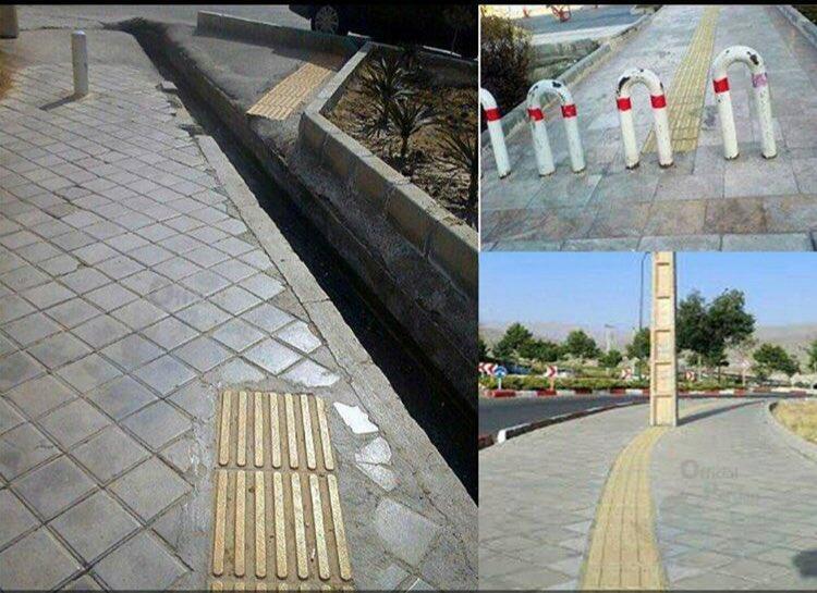 Des pavements pour aveugles menant à des poteaux et des fossés...