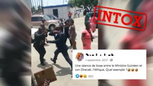 """Ces deux hommes qui se battent ont été présentés comme un """"ministre guinéen et son directeur de cabinet"""". Qu'en est-il vraiment ?"""