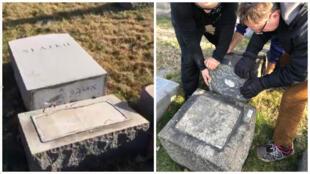 Damaged headstones in Mt. Carmel Cemetery, Philadelphia.