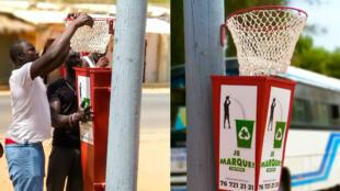 Dans le village de Nianing, des jeunes ont conçu des poubelles-baskets pour lutter de manière ludique contre l'insalubrité.