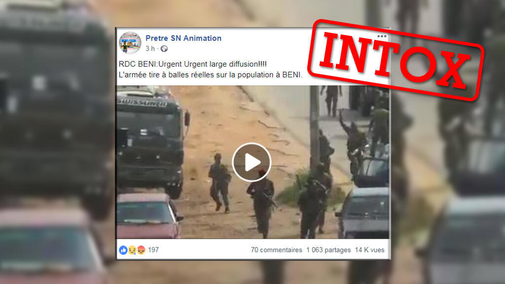 Cette vidéo n'a rien à voir avec les récentes manifestations à Beni. Crédit :  Capture d'écran Facebook / Les Observateurs de France 24.