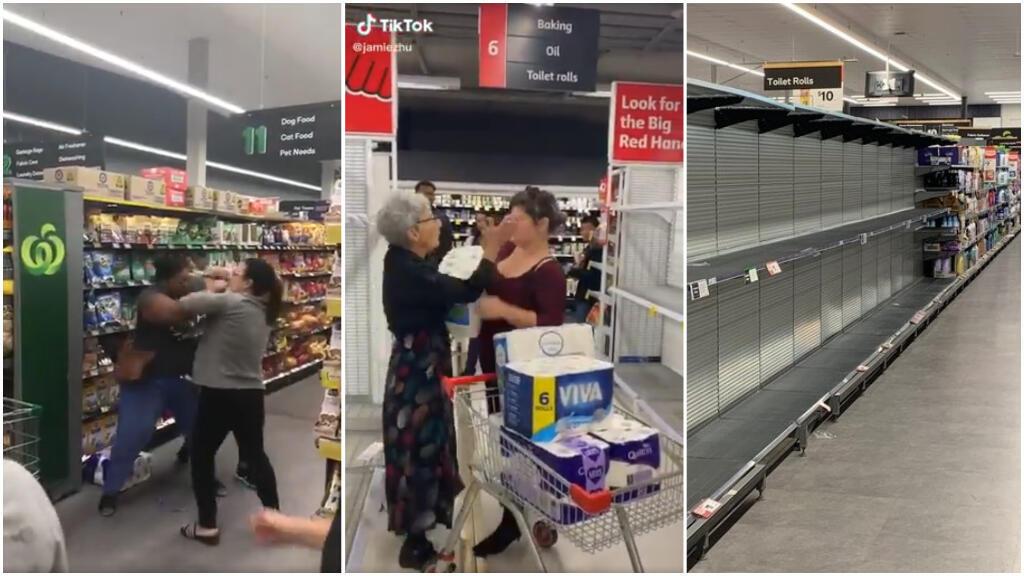Plusieurs captures d'écran montrent des scènes de violences dans les supermarchés australiens, où les rayons de papier toilette ont été vidés lors d'un mouvement de panique.