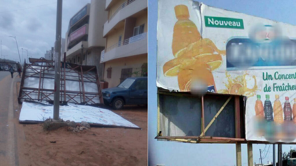 Photos de panneaux publicitaires endommagés prises à Dakar. Source : Twitter