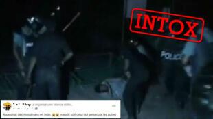 Une capture d'écran de la vidéo publiée sur Facebook et qui prétend montrer des assassinats de musulmans en Inde.