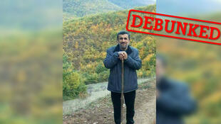 This photo of former Iranian President Mahmoud Ahmadinejad was widely shared on social media in Turkey in August 2018, with captions saying he is working as a shepherd.