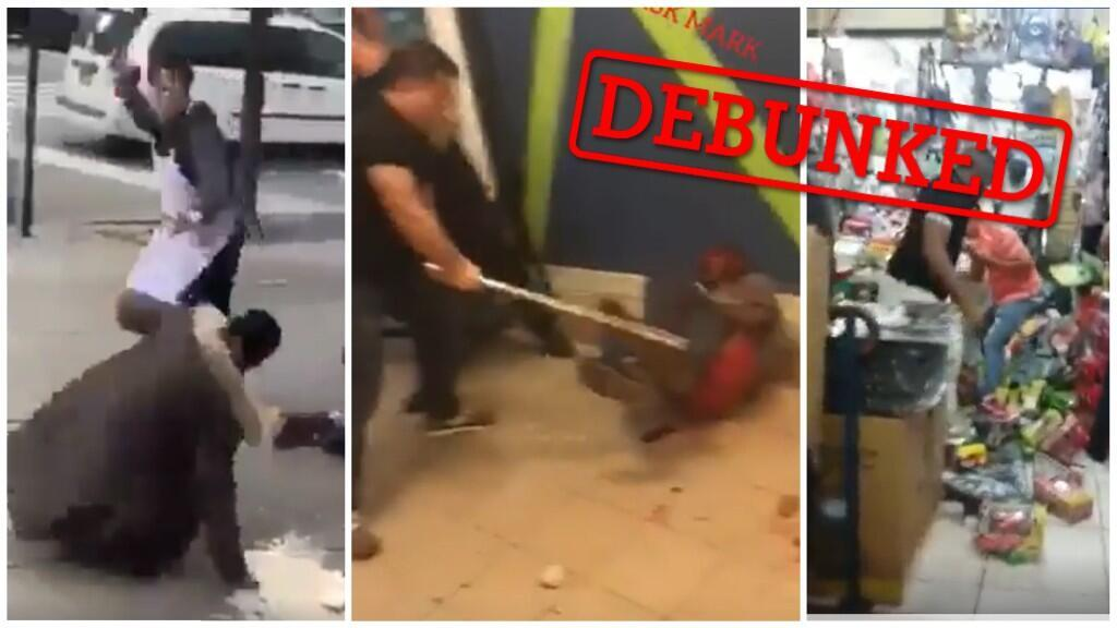 Contrary to their captions, none of these viral videos actually show violence committed against Africans in China because of rumours that they were spreading COVID-19. (Screengrabs)