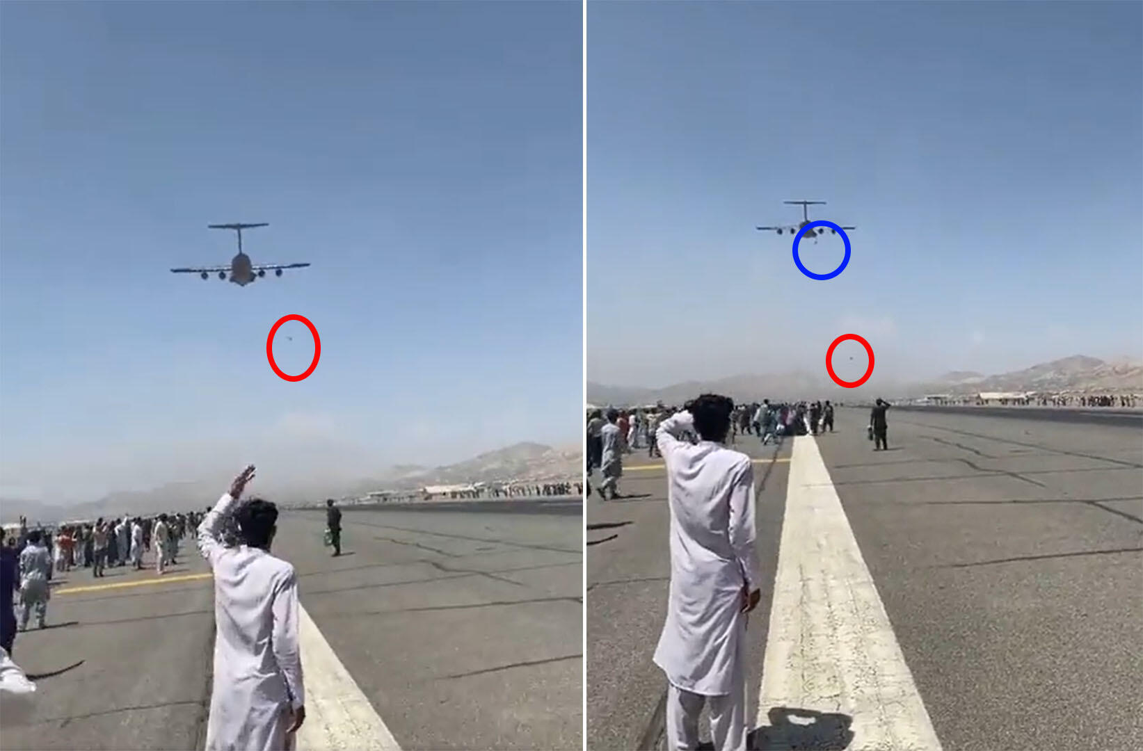 These screenshots of a video widely shared on social networks show two people falling from a US military C-17 plane that took off from Kabul airport on August 16, 2021.