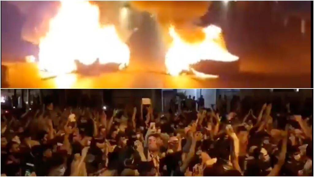 Residents of Ramhormoz block a main road during demonstrations (top). In Ahvaz, rallies take place outside the governorate to demand the resignation of the governor (bottom). Photos taken on 19 July.